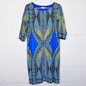 Sandra Darren 3/4 Sleeve Blue/Green Shift Dress